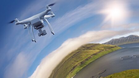UAV drone multicopter flying with high resolution digital camera over a spherical landscape