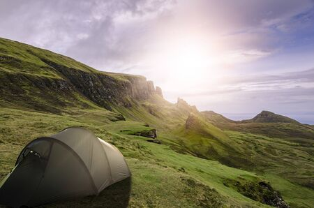 camping in the wilderness of the scottish isle of skye near the quirang mountain range
