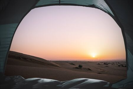 view out of a tent situated in the desert, tourism concept Reklamní fotografie