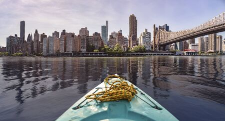 New York City Skyline seen from a kayak in the east river