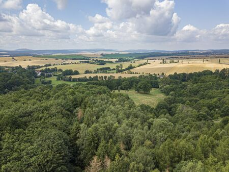 Aerial view of a scenic rural landscape area in thuringa with forest and fields