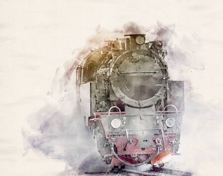 watercolor illustration of a steam powered locomotive
