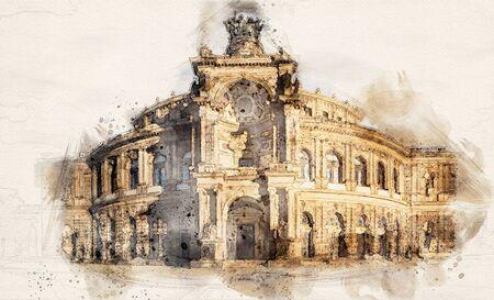 watercolor illustration famous Semperoper Opera Building in Dresden, Germany 写真素材