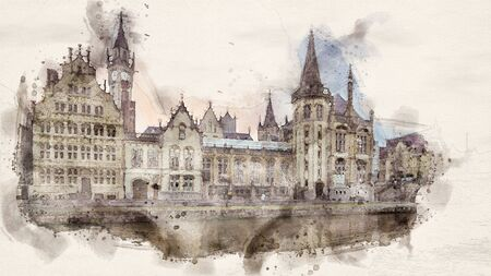 watercolor illustration of old historic buildings along the river in the city of ghent, belgium