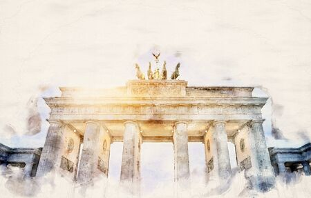 watercolor illustration of the Brandenburger Tor in Berlin, Germany