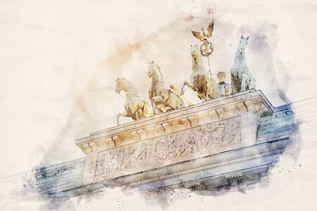 watercolor illustration of the Quadriga statue on top of the Brandenburger Tor (Brandenburg gate) in Berlin, Germany Stok Fotoğraf