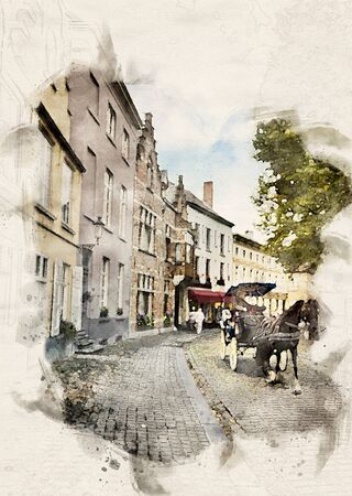 watercolor illustration of a Horse carriage going through the old town of Bruges, Belgium Reklamní fotografie