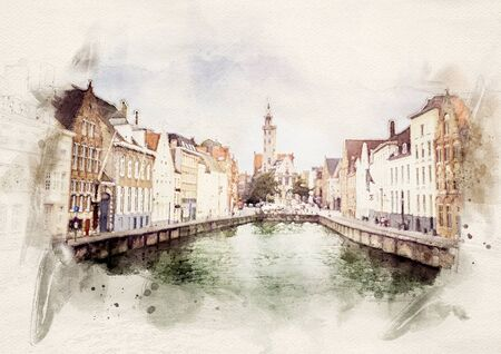 watercolor illustration of the Medieval Old Town of Bruges, Belgium
