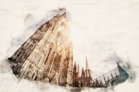 watercolor illustration of the Cologne Cathedral (Kölner Dom),Cologne, Germany