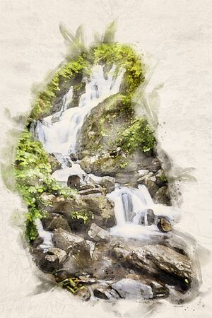 Watercolor Illustration of a cascading small waterfall