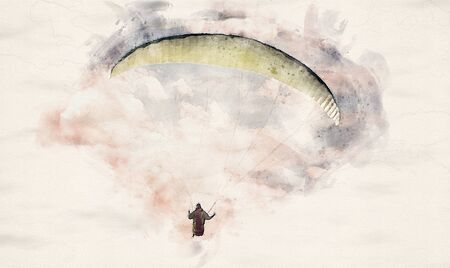 watercolor illustration of a paraglider flying through a cloud formation Reklamní fotografie