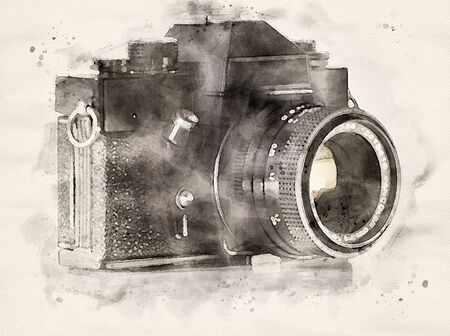 Watercolor Illustration of an old analogue film camera