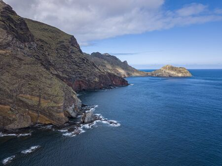 Aerial view of Tenerife Coastline with cliffs, Tenerfie, Canary Islands, Spain