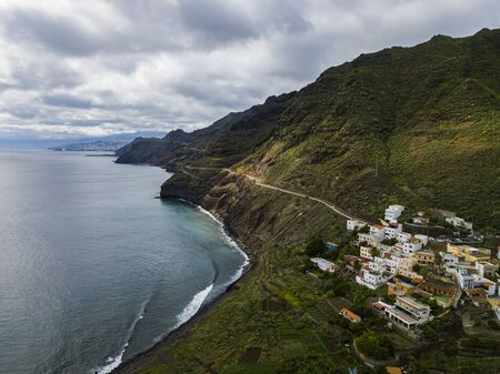 Aerial view of the small town Igueste De San Andres in the northern part of Tenerfie, Canary Islands, Spain