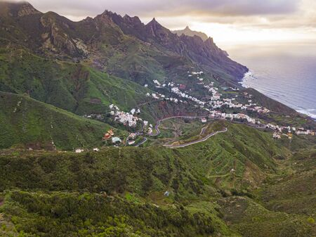 Aerial view of Anaga Mountain range with taganana village, Tenerife, Canary Islands, Spain