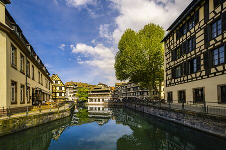 canal view in the medieval old town called petit-france of Strasbourg, Alsace Region, France