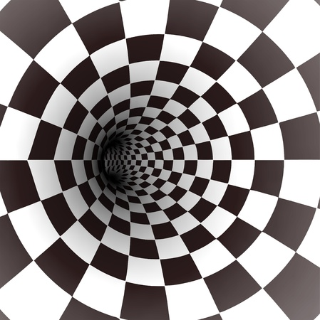 illusions: Black and white spiral tunnel  Vector