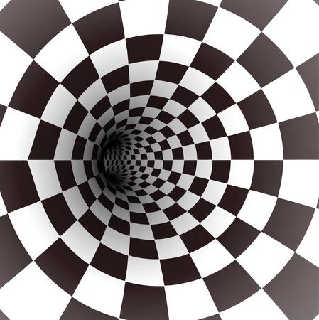 arte optico: Espiral blanco y negro Vector t�nel