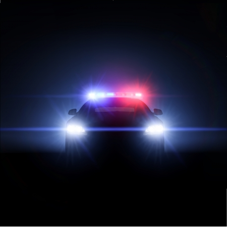 Police car with full array of lights  Vector illustration