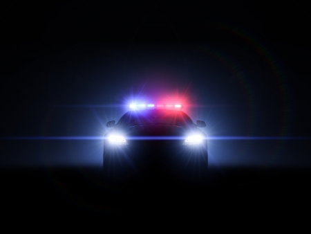 police car: Police car with full array of lights