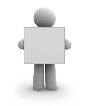 3d guy: Vector white human with blank board  eps8