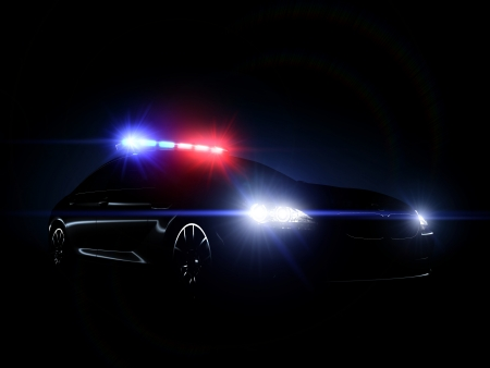 motor officer: Police car full array of tactical lights