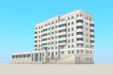 Modern cartoon buildings  Set  6 photo