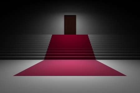 Stairs with red carpet and door Stock Photo - 18480808