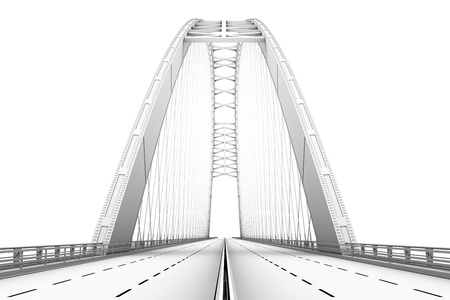 3d wireframe render of a bridge