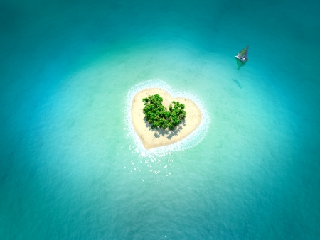 ocean view: Tropical Island in form of heart Stock Photo