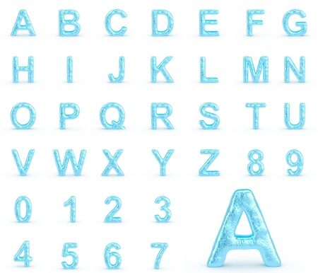 fonts year: Ice Alphabet With Numbers