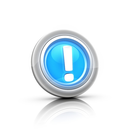 blue 3d  button exclamation mark photo
