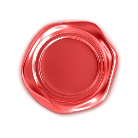 Red wax seal isolated on white photo