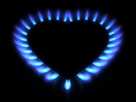 Blue gas stove in the dark photo