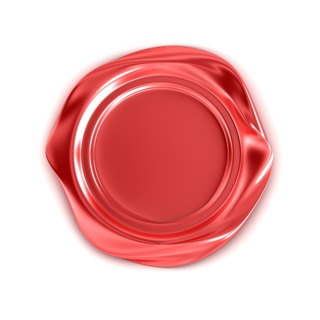 Red wax seal isolated on white Stock Photo - 18943433