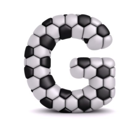 sports form: Letter with soccer relief texture