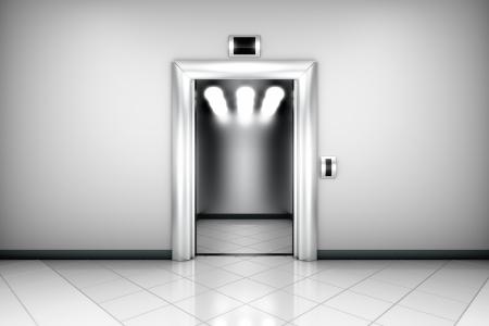 modern elevator with open doors photo
