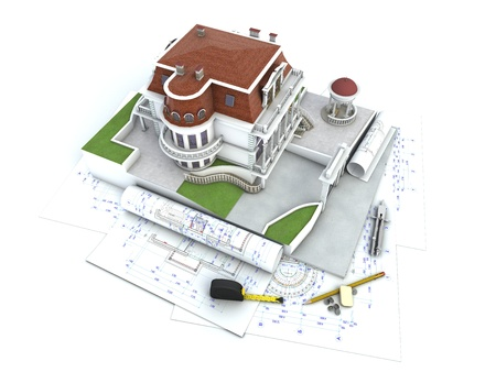 manor: House design progress, architecture drawing and visualization Stock Photo