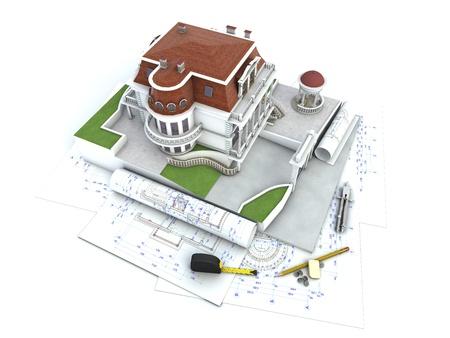 prefabricated buildings: Progreso Dise�o de la casa, dibujo arquitectura y visualizaci�n