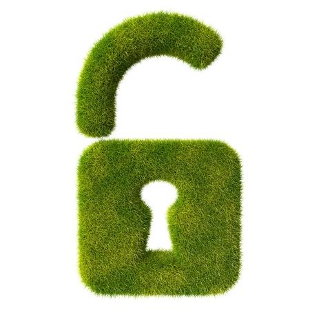 unlocked: Grass unlocked lock icon Stock Photo