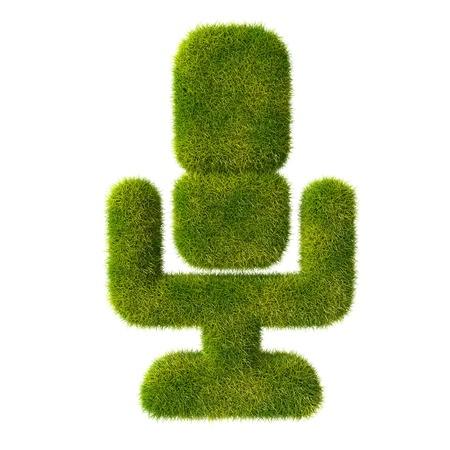Grass microphone icon Stock Photo - 19166618