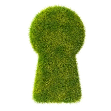 Grass keyhole icon Stock Photo - 19166631