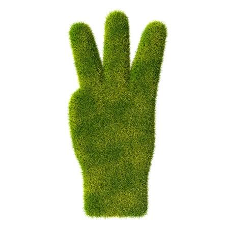 Grass hand icon  Three fingers Stock Photo - 19166616