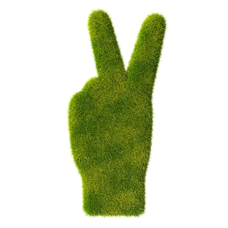 Grass hand icon  Two fingers Stock Photo - 19166615