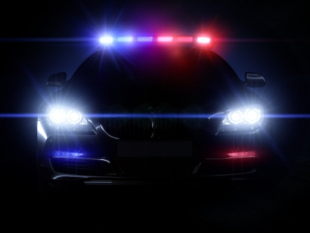 Police car, with full array of lights Stock Photo - 19259221