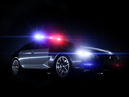 police arrest: Police car, with full array of lights