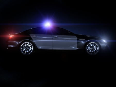 motor cop: Police car, with full array of lights