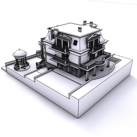 classic building wireframe