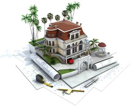 House design vooruitgang, architectuur tekening en visualisatie