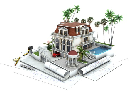 luxury home exterior: House design progress, architecture drawing and visualization Stock Photo